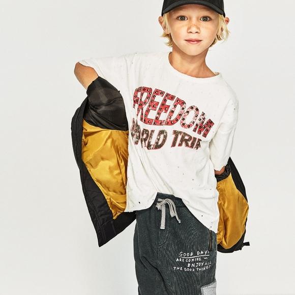 740f2032c70 Zara Boys White T Shirt Graphics Size 13-14 NWT